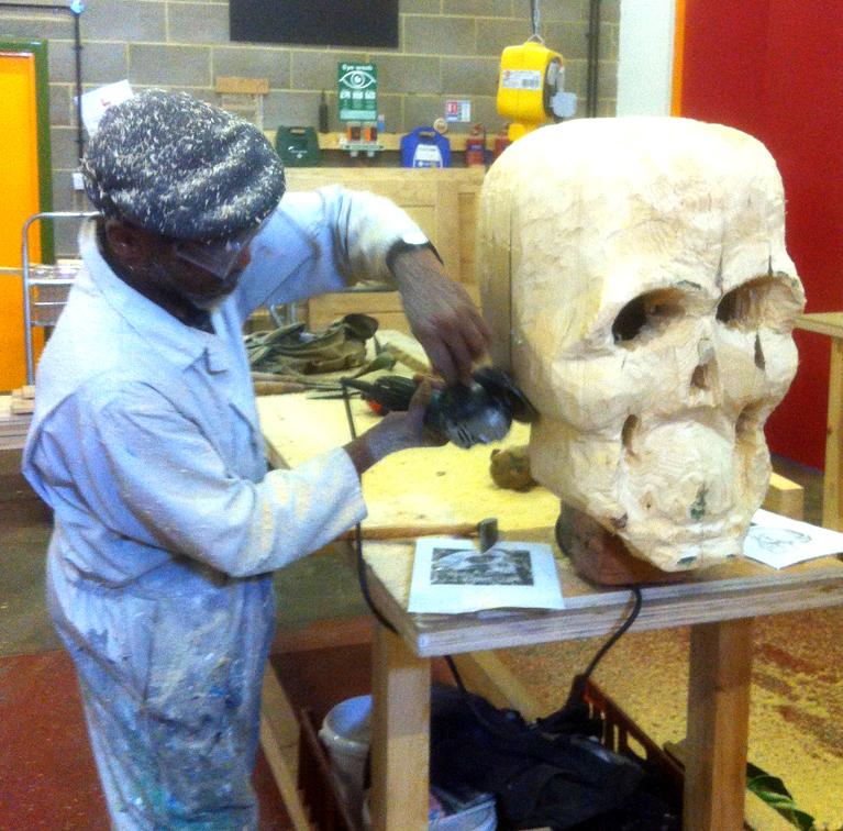 POST_Bonfire Tam working on the skull